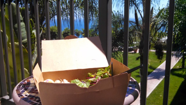 box salad lunch on the patio